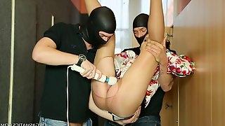 Masked men use a pantyhose wearing lady like a slut