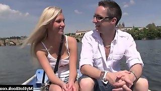 Small tits blonde enjoying missionary ravishing after hot date