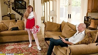 Cute cheerleader Hunter Rose spreads her legs for a dick