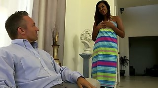 Ebony stepdaughter Zoey Reyes is fucked by horny white step daddy
