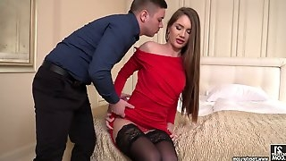 Sexy lady in red dress and black stockings Mary Rock gets her anus fucked