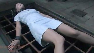 Slave girl tortured with food spreader bar bondage and punished in ankle stocks