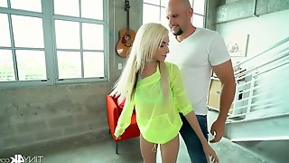 Slim and petite blonde Hime Marie is fucked by one strong brutal stud