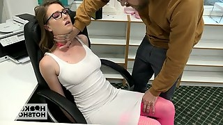 Kinky dude fucks sexy secretary in glasses right in the office