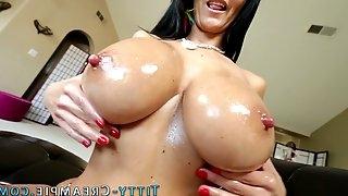 Milf oils up big tits