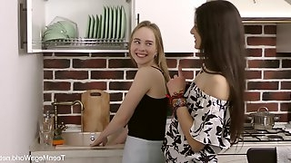 Attractive girl Camille enjoys threesome with her best friends on the bed
