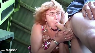 German Housewife Mother I´d Like To Fuck and Dad Make Love Outdoor on farm