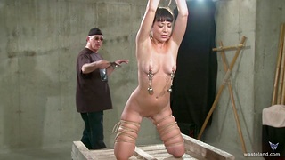 Small boobs slave girl gets tied up and torture by a pervert
