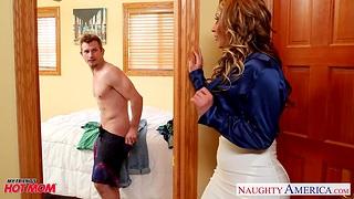 Big tittied full-grown heart breaker Eva Notty fucks son's lam out of here friend
