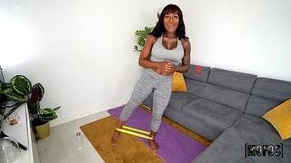 Big butt ebony girl Josy Black spreads their way paws far ride a fat dick