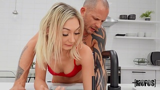 Kinky daddy fucks stale stepdaughter in red G-strings Chloe Temple