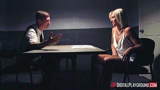 Nympho babe Rharri Rhound gets messy facial during interrogation