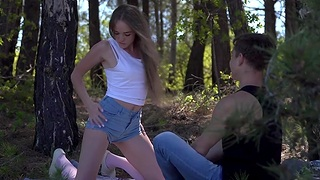 Passionate sex in hammer away local forest with adorable teen Andrea Sixth