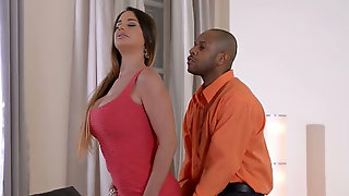 Appetizing tied up busty brunette gets teased by horny black stud